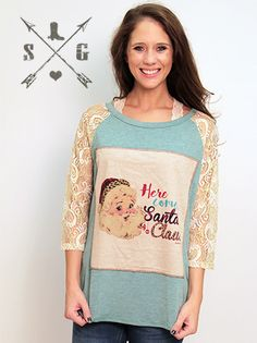 Here Comes Santa Claus Patch with Cream Lace Sleeves