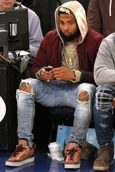 Odell Beckham Jr. wearing Amiri Distressed Skinny Jeans, Louis Vuitton Kanye West x Dons Patchwork