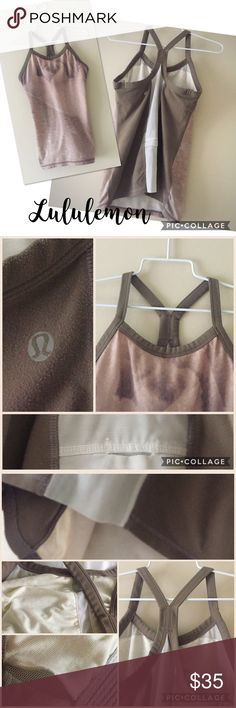 "Lululemon Brown camo Y-back tank 6 Lululemon brown camo colored Y-back tank with bra lining and space to insert pads. Small pocket at lower back. Trim and sides are brown  cotton with back mesh panel. Front is lighter brown camo. EUC., tag cut out for comfort. Flat bust is 15.5"", shoulder to hem is 23.5""! 💖 lululemon athletica Tops Tank Tops"