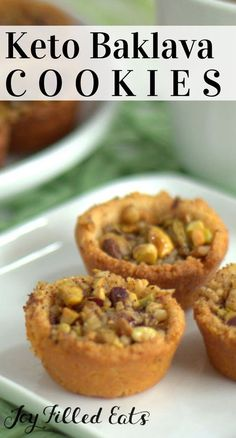 Keto Baklava Cookies – Low Carb & Gluten Free - With walnuts, pistachios, cinnamon, and a sugar free glaze these Baklava Cookies will be the perfect substitute to the traditional sugar laden pastry. Low Carb Sweets, Low Carb Desserts, Low Carb Recipes, Dessert Recipes, Dessert Bread, Free Recipes, Keto Cookies, Healthy Cookies, Chip Cookies