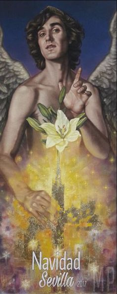 The design shows God's messenger in front of a bottle containing an iris and an explosion of light which many people in Seville are not happy with, saying it makes a 'mockery' out of the tourist hotspot Christmas Poster, Seville, Design Show, Spanish, City, Movie Posters, Painting, Reyes, Iris