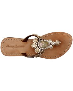 Bronze Flip Flops with Mother-of-Pearl - cute!