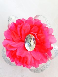 Hot Pink Flower Silver Loop Rhinestone Hair Bow Clip by YoungSparkleandShine on Etsy