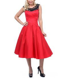 Look what I found on #zulily! Red & Black Lattice Swing Dress - Women & Plus by Unique Vintage #zulilyfinds