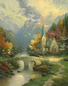 Thomas Kinkade. The Mountain Chapel. Artist Proof Limited Edition of 990 Canvases. | eBay!