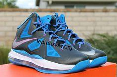 3448b1d6831 Womens Lebron shoes 2013 Nike LeBron X GS Black Metallic Silver Photo Blue  White    lebron shoes  lebron james sneakers