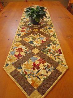 Quilted Table Runner Maple Leaves, Fall table Runner, Patchwork  Table Runner. $58.00, via Etsy.