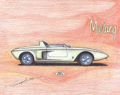 1962 Ford Mustang Concept - PRINT - Limited Edition Run of 50 (FRAMED) on Etsy, $14.99