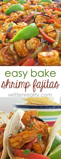 One Sheet Pan Shrimp Fajitas - Written Reality One Sheet Pan Shrimp Fajitas : Here's an easy sheet pan shrimp fajitas recipe that's quick and delicious. Toss vegetables and shrimp in seasonings and bake on one pan. Seafood Recipes, Mexican Food Recipes, Dinner Recipes, Cooking Recipes, Healthy Recipes, Paleo Dinner, Pan Cooking, Salmon Recipes, Fish Recipes