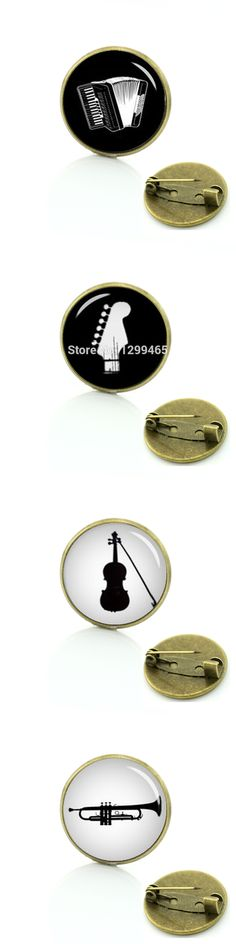 Vintage musical instrument brooches gibson guitar accordion phonograph violin Tromba drum silhouette musician pins badge T696