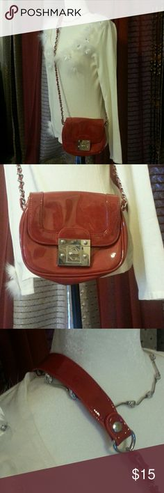 Beautiful red Patten crossbody bag Chain straps for bling and only used once ! Inside has one zip pocket and looks new! Apt. 9 Bags Crossbody Bags