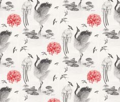 Crane, Swallow, Frog fabric by loveraccoonsillustration