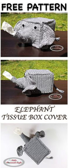 Elephant Tissue Box Cover - Free Crochet pattern By Nicki's Homemade Crafts