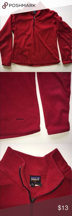 Patagonia Red half zip up Fleece size Small Patagonia Red half zip up Fleece size Small tag is ripped some as you can see in pic besides that in good condition Patagonia Tops Sweatshirts & Hoodies