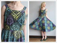 1950s Dress // Tiki Picnic Dress // vintage 50s by dethrosevintage