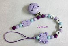 Schnullerkette Eule Schmetterling Name Baby md168 von myduttel auf DaWanda.com