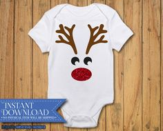 Reindeer Face svg  - DIGITAL DOWNLOAD - Reindeer Cut file - Christmas Bodysuit SVG - Vector Files - Silhouette Cut Files - Cricut Cut Files by CraftCutz on Etsy