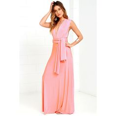 Always Stunning Convertible Coral Pink Maxi Dress ($58) ❤ liked on Polyvore featuring dresses, gowns, pink, long gowns, pink long skirt, long maxi dresses, long white maxi skirt and white gown