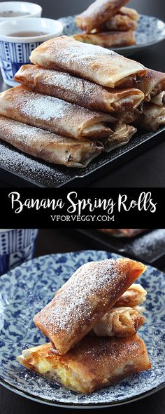 Easy to make Banana Spring Rolls (Indonesian: Lumpia Pisang) (Philippines: Turon) Indonesian Desserts, Asian Desserts, Indonesian Food, Asian Recipes, Mexican Food Recipes, Dessert Recipes, Indonesian Recipes, Chinese Desserts, Filipino Desserts