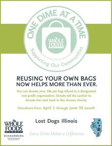 Reuse your own bags at #WholeFoods #Shaumburg #IL to Benefit LDI! April 1 through June 30