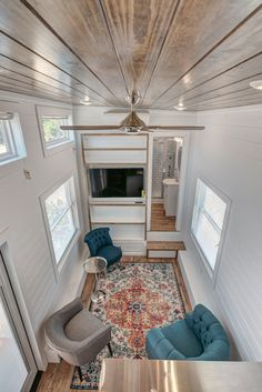 The Journey is a bumper pull tiny house by Alabama Tiny Homes, featuring a standing loft, box beam ceiling, and living room with trundle bed. Tiny House Big Living, Small Tiny House, Tiny House Swoon, Best Tiny House, Tiny House On Wheels, Small Living, Living Room Plan, Spacious Living Room, Small Room Design