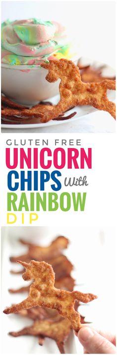 Unicorn Chips with Rainbow Dip #GlutenFree #Unicorns #Cheesecake