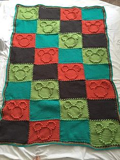 Ravelry: Mouse Bobble Chart pattern by Kari Philpott Crochet Bobble Blanket, Crochet Baby Blanket Free Pattern, Afghan Crochet Patterns, Knitting Patterns, Baby Mickey Mouse, Crochet Mickey Mouse, Mickey Mouse Blanket, Crochet Home, Crochet Crafts