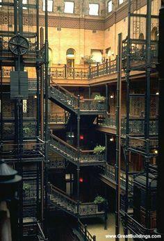 Bradbury building - seen in many movies, including Bladerunner.