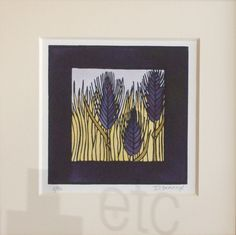 Prairie Grasses print in the Arts and Crafts era style.  Linoleum block print.  Print size is approx 6x6 inches. Ordering information from Art Etc @ 530-895-1161.