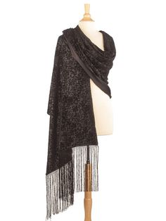 Loretta-Embossed Silk Velvet Lined with Silk Satin Shawl-Black Evening Shawls, Glamorous Dresses, Pashmina Shawl, Shawls And Wraps, Black Silk, Silk Satin, Velvet, Glamour, Classic Italian