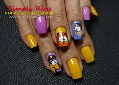 Garfield nails. I would totally do this if I could find somebody who could do it!