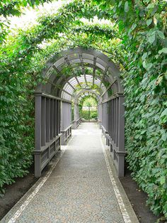 Arbour with mosaic pathway