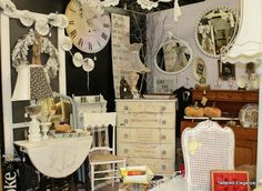 antique display ideas | Black wall in antique mall booth display! ~ ... | shop ideas