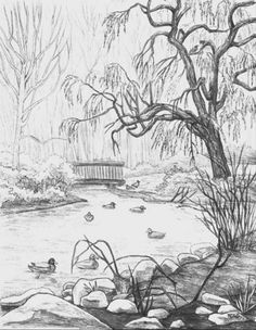 landscape pencil easy drawing drawings sketch beginners sketching draw nature realistic forest step paintings