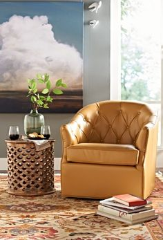 Put your eye for timeless design on stunning display with our space-maximizing Emerson Swivel Chair.