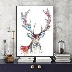 Fresh arriving ZZ586 simple abstract canvas art watercolor deer animal canvas pictures oil art painting for liivngroom bedroom decoration print now you can purchase US $12.59 with free postage  you can purchase this product and much more at the online store      Have it right now in the following >> http://thegallery.store/products/zz586-simple-abstract-canvas-art-watercolor-deer-animal-canvas-pictures-oil-art-painting-for-liivngroom-bedroom-decoration-print/,  #ShopArt