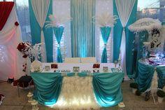 Украшение зала на свадьбу в цвете Тиффани