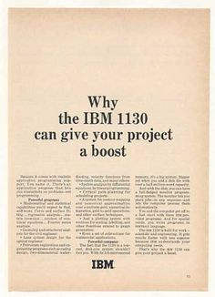 IBM 1130 Computer Give Your Project a Boost (1966)