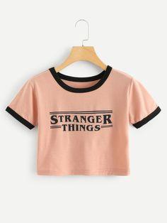 new style cba9c 38ed3 Letter Print TeeFor Women-romwe Stranger things crop top Vetement Ado, Mode  Vetement,