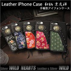 Colourful and eye-catching! Crepe feels soft and looks stunning framed by black leather.   Leather Protective Case Cover for iPhone 6,6s,7,8,X/ Plus Japanese Pattern YUZEN WILD HEARTS Leather&Silver(ID sc3671t28)  https://global.rakuten.com/en/store/auc-wildhearts/item/sc3671t28/
