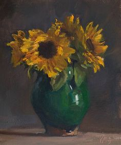 daily painting titled Vase of sunflowers - click for enlargement