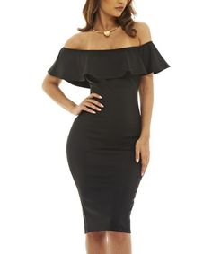 Loving this Black Ruffle Off-Shoulder Bodycon Dress on #zulily! #zulilyfinds