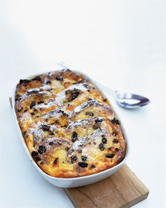Bread and butter pudding as I call it. you can use white bread and raisins. Just butter the bread and remove crusts, layer the bread with sprinkling of raisins inbetween each layer. Reminds me of when I was a kid. Yum!