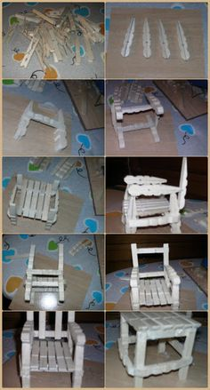 chair set from wooden clothespins Popsicle Stick Crafts House, Craft Stick Crafts, Diy And Crafts, Crafts For Kids, Wooden Clothespin Crafts, Wooden Clothespins, Clothespin Dolls, Barbie Furniture, Dollar Store Crafts