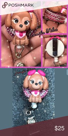 """Paw Patrol Skye Clay Badge Reel Show off your personality and style with one of these adorable badge reels!! These are perfect for hospital staff, nurses, doctors, teachers, managers,  students, office workers, servers, dentists, or just about anyone who wears a badge reel for swipe cards,  photo ids, keys, etc! These also would make fabulous gifts!!  The Reel diameter is 1 1/4""""(32mm) and the cord stretches out to approx. 28"""".  Skye is about 1 1/2""""  Please note - these badges are NOT…"""