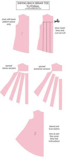 The best DIY projects & DIY ideas and tutorials: sewing, paper craft, DIY. DIY Women's Clothing : Tutorial // Swing back briar tee — megan nielsen design diary -Read Dress Sewing Patterns, Sewing Patterns Free, Free Sewing, Clothing Patterns, Women's Clothing, Sewing Hacks, Sewing Tutorials, Sewing Projects, Pattern Drafting Tutorials