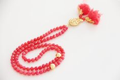 Pastel Red Jade Tasbih, Turkish Islamic Prayer Beads, Fabric Flowers, Gold Plated Tulip Connector, Worry beads, Misbaha, Masbaha, 99 count by Vanilleecom on Etsy
