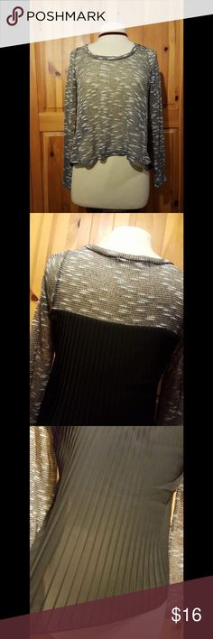 Sheer Fray and Metallic Gold Knit Blouse Cute long sleeve blouse. It is sheer and knit. And has also some metallic gold. In the back its sheer and pleated. NWOT Questions below. Reasonable offers considered. Same day shipping on purchases made before 2 PM PST Tops Blouses