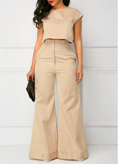 Cap Sleeve Light Khaki Top and Pocket Pants Look Fashion, Autumn Fashion, Womens Fashion, Fashion Tips, Fashion Trends, Fashion Photo, Classy Outfits, Chic Outfits, Baggy Pants