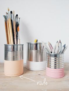 I'm normally not one for tin can storage, but these dipped versions are really cute. NIB - Norwegian interior blogs